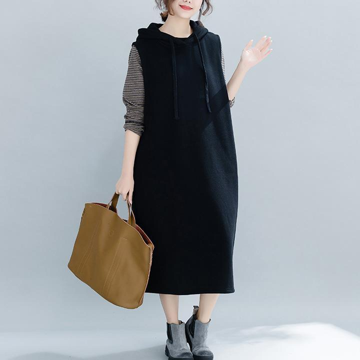 Women cotton Sleeveless clothes Organic Online Shopping black cotton robes Dresses