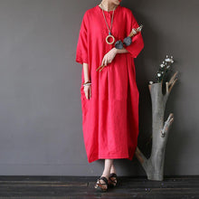 Load image into Gallery viewer, Women cotton clothes plus size stand collar Three Quarter sleeve Fabrics red Love Dress