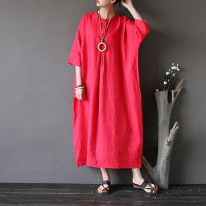 Women cotton clothes plus size stand collar Three Quarter sleeve Fabrics red Love Dress