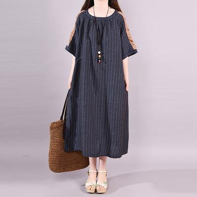 Women cotton dress plus size Raglan Sleeve Stripe Spliced Summer Dress