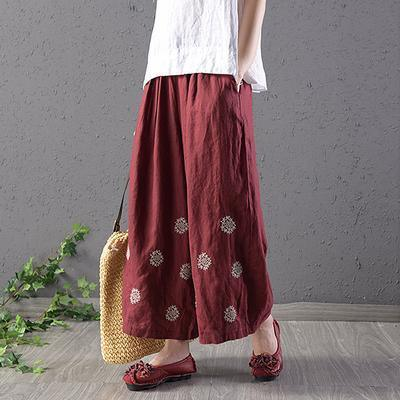 Women cotton red Vintage Linen Embroidery Ankle-Length Pants