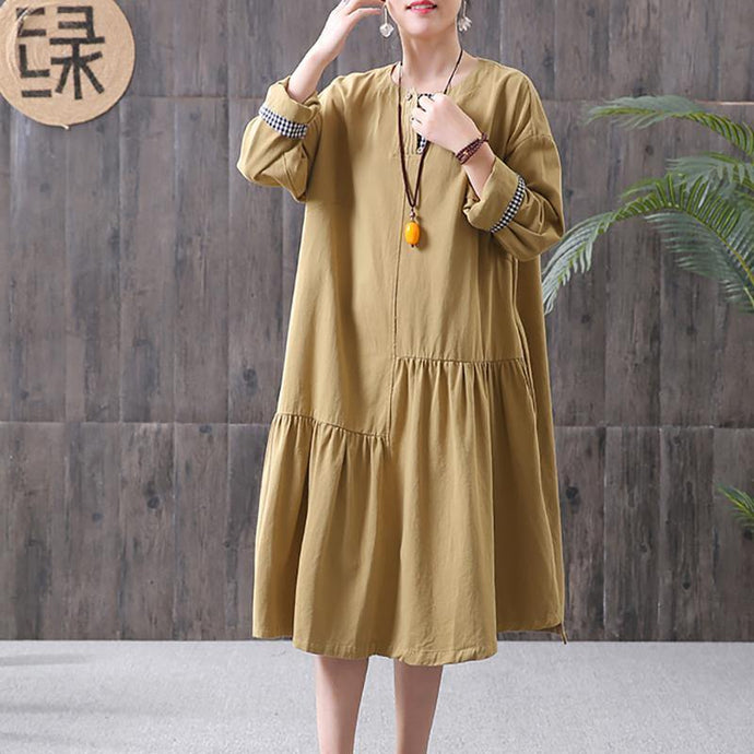 Women cotton tunic dress 2019 Women yellow Pleated Spliced Spring Casual Loose Midi Dress