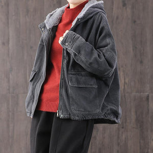 Women denim black Plus Size trench coat Fabrics hooded thick coat