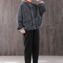 Load image into Gallery viewer, Women denim black Plus Size trench coat Fabrics hooded thick coat
