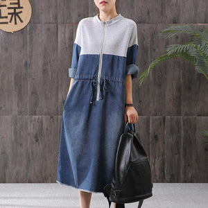 Women denim blue stand collar zippered oversized Dress
