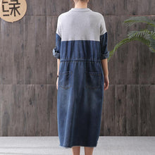 Load image into Gallery viewer, Women denim blue stand collar zippered oversized Dress