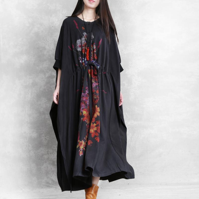 Women drawstring cotton dresses Catwalk black prints Maxi Dress fall