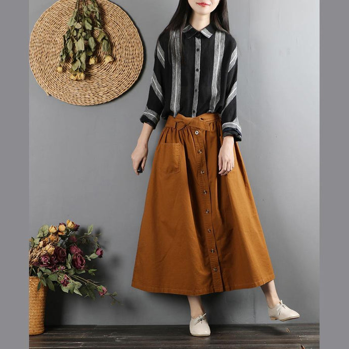 Women elastic waist cotton fall clothes Fabrics brown Art skirts