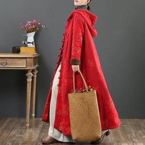 Women embroidery Fine hooded trench coat red short outwears