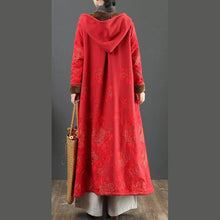 Load image into Gallery viewer, Women embroidery Fine hooded trench coat red short outwears