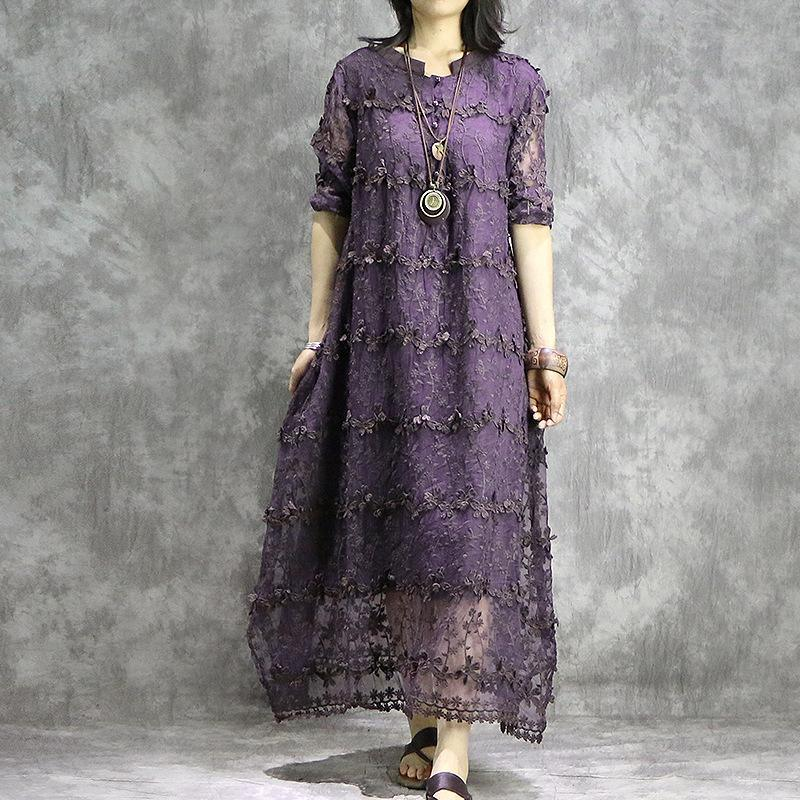 Women embroidery clothes For Women pattern purple Dress