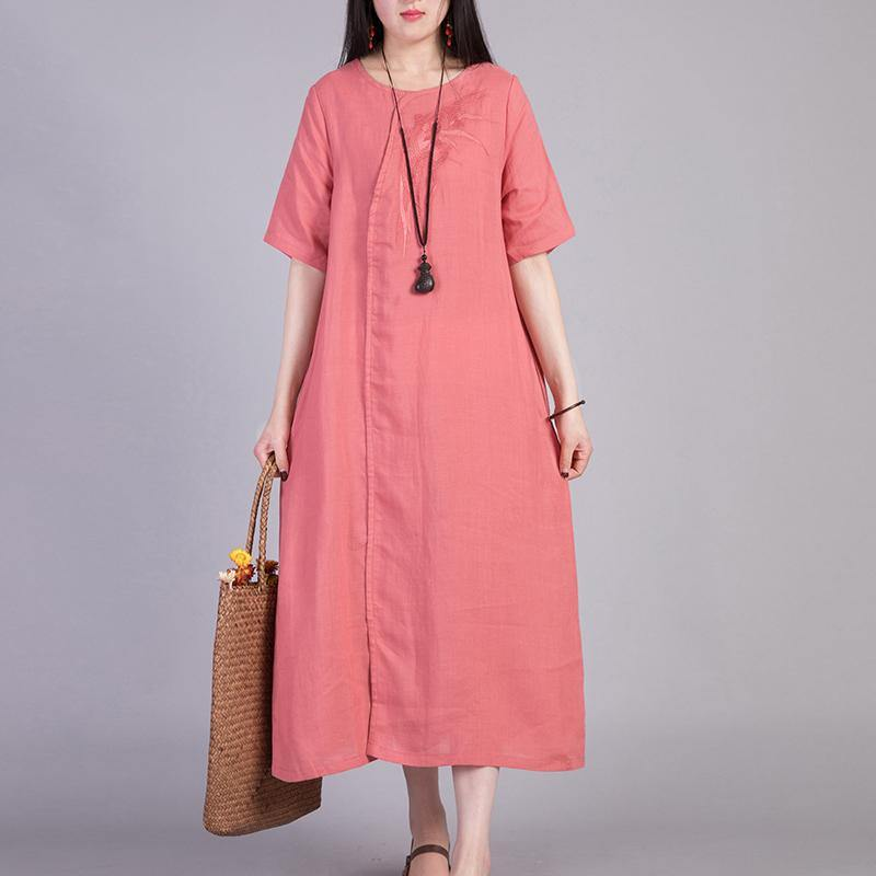 Women embroidery cotton Robes design light red Dress summer