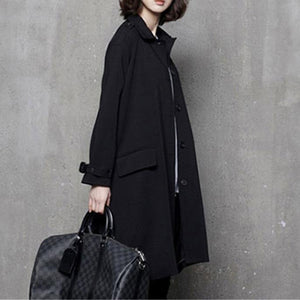 Women fall Plus Size tie waist maxi coat black oversized women coats