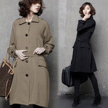 Load image into Gallery viewer, Women fall Plus Size tie waist maxi coat black oversized women coats