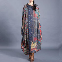Load image into Gallery viewer, Women floral cotton dresses stand collar asymmetric Art Dresses