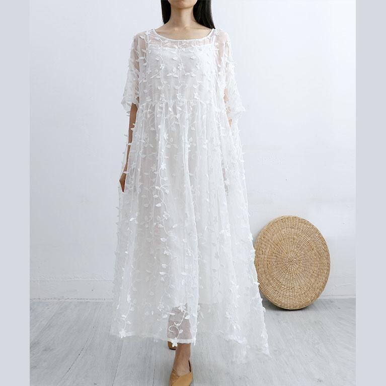 Women floral lace cotton quilting clothes Sleeve white o neck long Dress summer