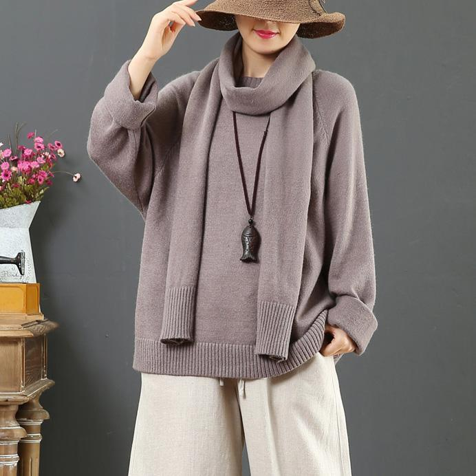Women gray knitted top With scarf fall fashion thick knit sweat tops