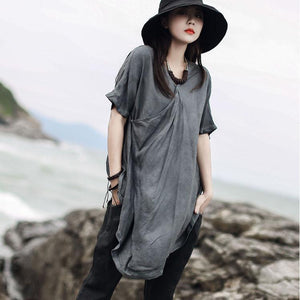 Women gray tunic pattern v neck asymmetric Art summer shirt