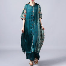 Laden Sie das Bild in den Galerie-Viewer, Women green dresses Omychic Print Short Sleeve Blouse And Wide Leg Pants
