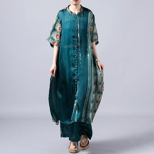 Women green dresses Omychic Print Short Sleeve Blouse And Wide Leg Pants