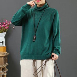 Women green knit top silhouette wild plus size clothing hollow out sweaters