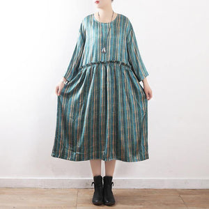 Women green striped dress top quality Sewing long Summer O neck Dresses