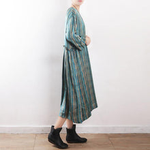 Load image into Gallery viewer, Women green striped dress top quality Sewing long Summer O neck Dresses