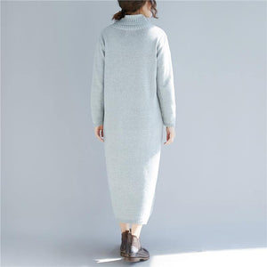 Women high neck Sweater outfits Largo gray DIY knitted dress fall