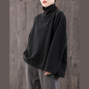 Women high neck cotton side open clothes For Women Work Outfits black blouses