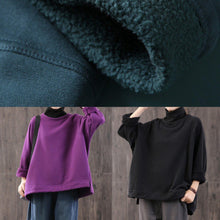 Load image into Gallery viewer, Women high neck cotton side open clothes For Women Work Outfits black blouses