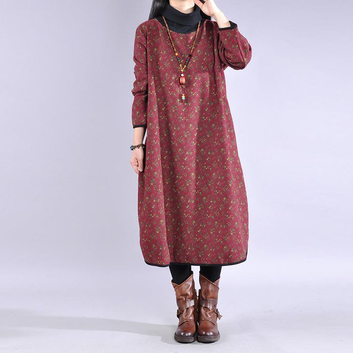 Women high neck cotton winter tunic pattern Shape red prints A Line Dress