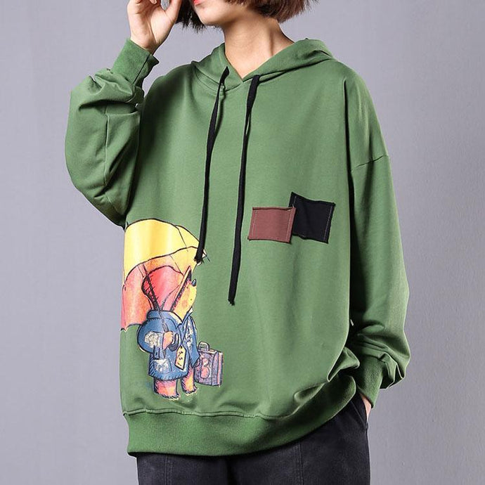 Women hooded cotton top silhouette Inspiration green Cartoon print shirts fall