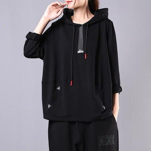 Women hooded drawstring cotton clothes For Women Sleeve black blouse