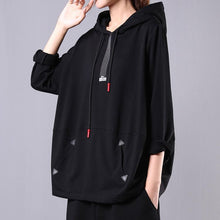 Load image into Gallery viewer, Women hooded drawstring cotton clothes For Women Sleeve black blouse