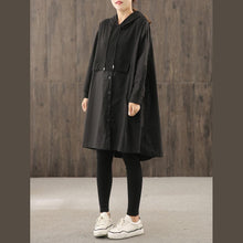 Load image into Gallery viewer, Women hooded wrinkled Plus Size Long coatsblack coat