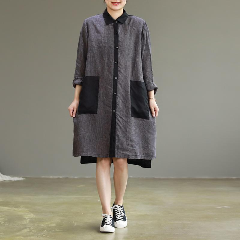 Women lapel Large pockets linen clothes plus size Tunic Tops gray patchwork black baggy Dresses spring