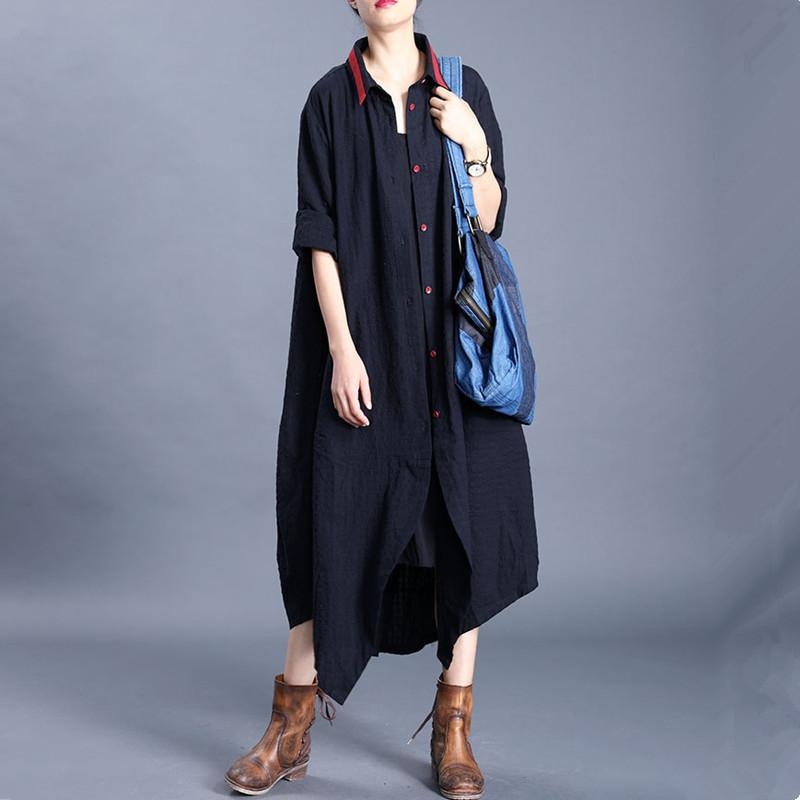 Women lapel asymmetric Plus Size crane coats black Plus Size Clothing cardigan