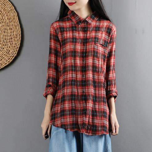 Women lapel collar linen long sleeve clothes Neckline red plaid blouses