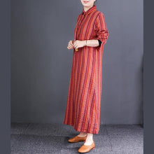 Laden Sie das Bild in den Galerie-Viewer, Women lapel linen cotton Robes Korea Tunic Tops green striped cotton Dresses