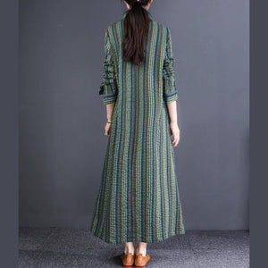 Women lapel linen cotton Robes Korea Tunic Tops green striped cotton Dresses
