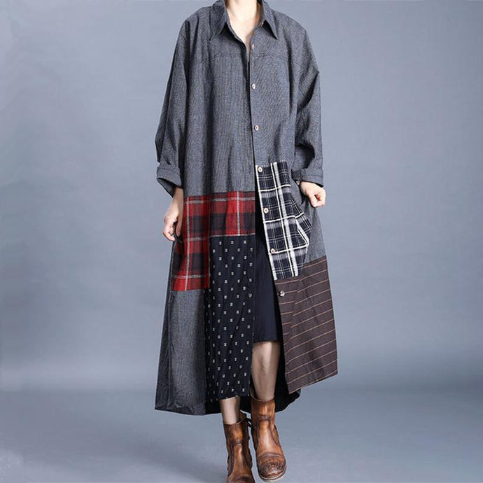 Women lapel patchwork Fashion casual coats women gray loose outwears