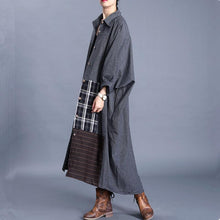 Load image into Gallery viewer, Women lapel patchwork Fashion casual coats women gray loose outwears