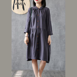 Women lapel wrinkled linen cotton Tunic Outfits gray Dresses