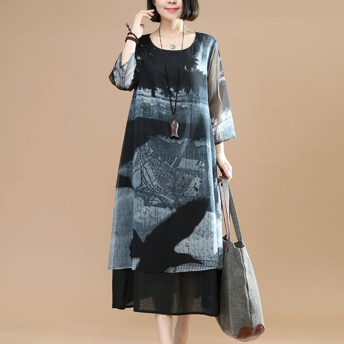 Women layered silk dress Sleeve black prints silk Dresses summer