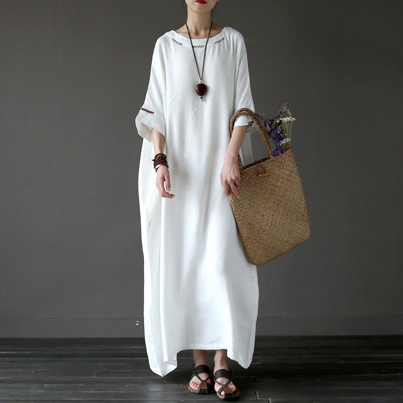 Women linen Robes Vintage o neck Inspiration white embroidery Batwing Sleeve Dress
