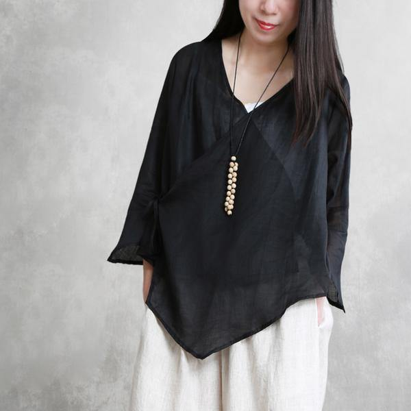 Women linen box top top quality Summer Lace-Up Irregular Three Quarter Sleeve Shirt