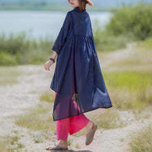 Load image into Gallery viewer, Women linen cotton clothes Women Solid Color Irregular Hem Casual Loose Shirt