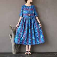 Load image into Gallery viewer, Women linen cotton quilting clothes Women o neck Outfits blue prints Kaftan Dresses