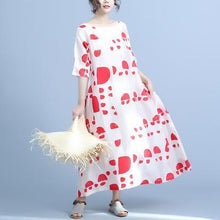 Laden Sie das Bild in den Galerie-Viewer, Women linen dress Metropolitan Museum Dot Print Half Sleeve Casual Maxi Dress