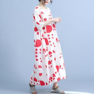 Women linen dress Metropolitan Museum Dot Print Half Sleeve Casual Maxi Dress